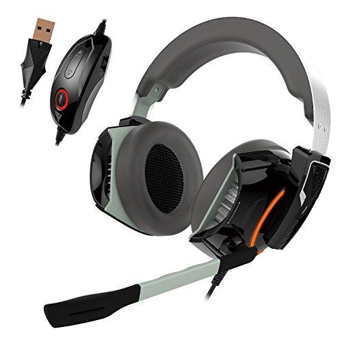 GAMDIAS Gaming Headset with 7.1 Virtual Surround Sound, Inline Remote, RGB Lighting (Hephaestus P1) Headsets