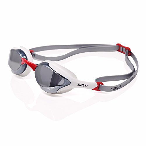 Fluidix Swim Goggles - Ultra Low-Profile, Wide Angle Vision, Hydrodynamic Swimming Goggles, Adjustable Nose Pieces, Mirrored Lens with UV Protection and Anti-Fog (4 (White/Red)