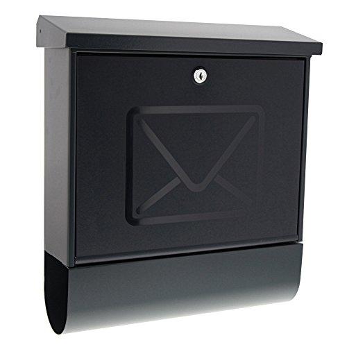 BURG-WÄCHTER Briefkasten mit Zeitungsfach ohne Namensschild, Verzinkter Stahl, Transluzente Tür, Einwurf-Format DIN C4, Inkl. 2 Schlüssel, Lucenta 2700 ANT, Anthrazit (ähnlich RAL 7016)