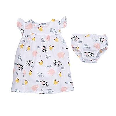 Mud Pie Baby Girls' Muslin Farm Animals Dress, 5T