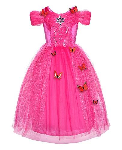 JerrisApparel Nuova Cerimonia Vestito dalla Ragazza Principessa Costume con la Farfalla (90, Rosa)