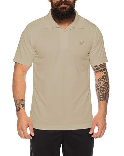 Raff & Taff Polo Shirt Fitness Shirt hochwertiges Atmungaktives Funktionsshirt T-Shirt Freizeit Shirt (Beige, XXL)