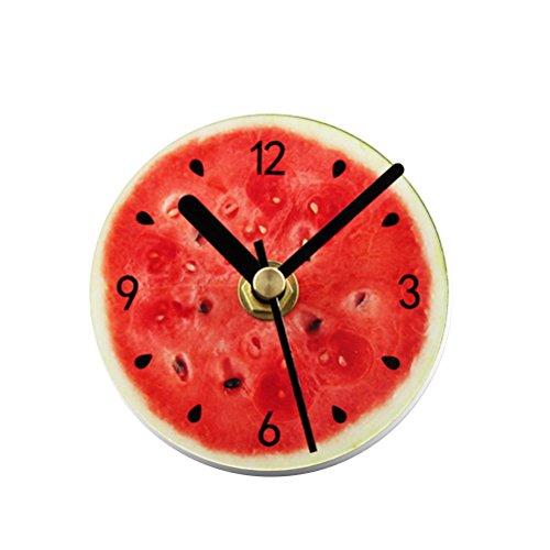 VORCOOL Réfrigérateur Manettes Creative Cuisine Tableau blanc Magnets Réfrigérateur Autocollant Bureau Aimants Ronde Fruit Pattern Horloge Murale Non-Ticking Horloge Pendaison (Pastèque)