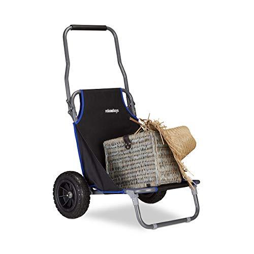 Relaxdays Chariot Pliant, Chaise roulettes Jusqu'à 100 kg Transport pour Plage, Noir, HLP 102 x 65 x 61 cm