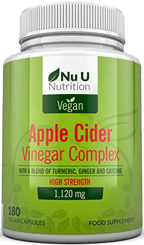 Apple Cider Vinegar - 180 Vegan Capsules not Tablets or Liquid - 1120mg Daily Dosage – Plus Added Turmeric, Cayenne and Ginger – Full 90 Day Supply – Made in The UK