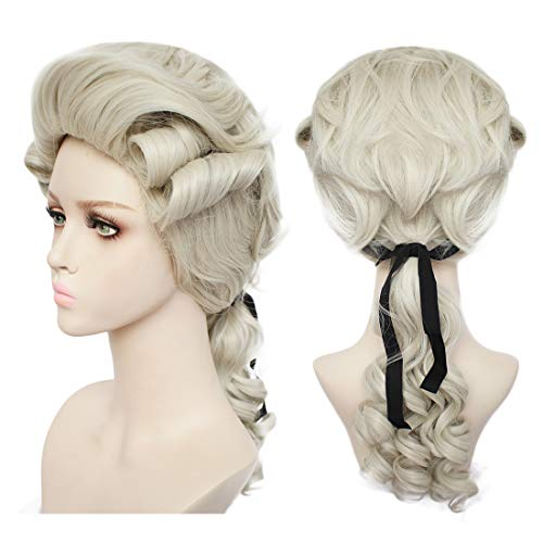 JoneTing Colonial Cosplay Wig Masquerade Wig for Lawyer Ash Blonde Synthetic Hair Wigs for White Women And Men