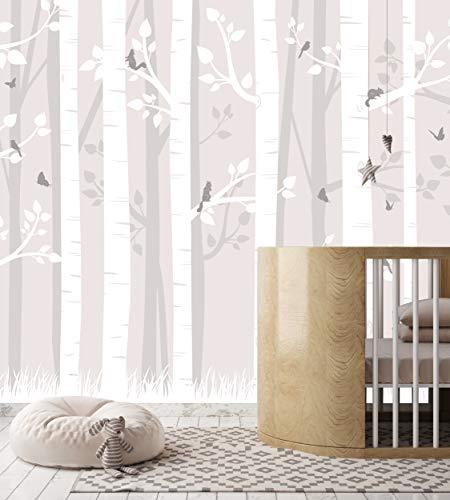 Kindertapete Birkenwald (184 x 254 cm) Vliestapete Birkenstämme Bäume Wald für Kinder - UV- & wasserbeständiger Druck - 3D Tapete inklusive Kleister & Anleitung - fürs Kinderzimmer