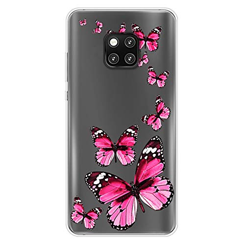 Transparent Coque Compatible avec Huawei Mate 20 Pro Clair Étui Motif Design Ultra Mince Souple TPU Silicone Housse Antichoc Anti-Rayures Case Shock-Absorption Cover Protection Bumper,Papillon Rose