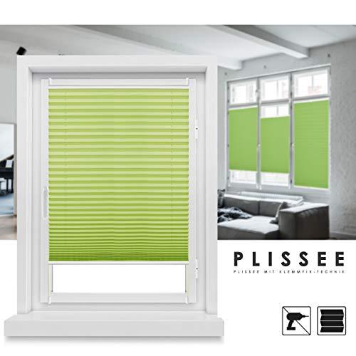 Grandekor Store plissé sans perçage Klemmfix, Tissu, vert, 90x130