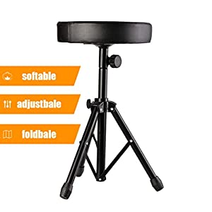 Mauccau Drum Throne adujutable and softable Padded Drum Seat,Stable Drumming Stools with Rubber Feet, for Drmmers Adults and Kids.