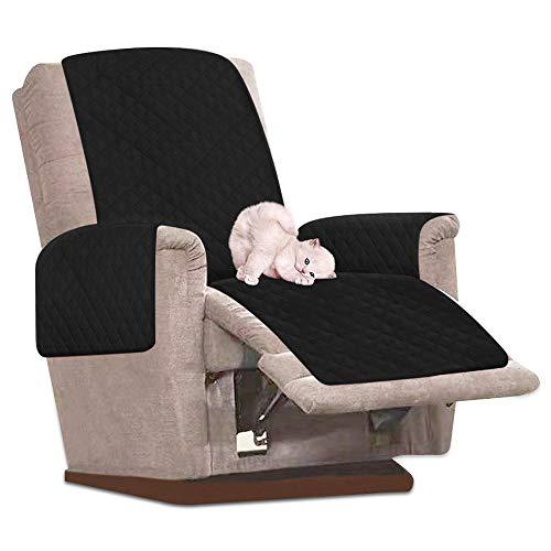 Enjoygoeu Sesselschoner für Sessel, wasserdicht, mit Neigungsfunktion, gesteppt, für 1 Sofa Schwarz