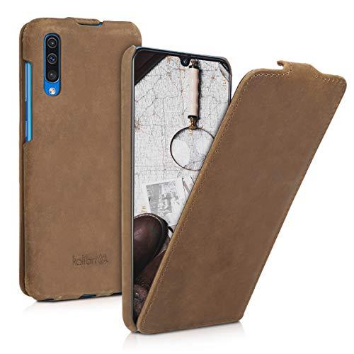 kalibri Flip-Hülle Ultra Slim Tasche für Samsung Galaxy A50 - Leder Schutzhülle Case in Braun