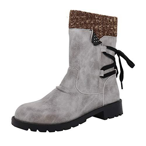 acction Botas de Mujer Otoño Invierno 2019 Tacon Bajo Zapatos Largas Botas Forrado de Piel Antideslizante Cómodo Cremallera con Cordones,35-43
