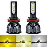 1797 H11 H8 H16(JP) LED Headlight Fog Lights Bulbs Yellow 3000K White 6000K Warm White 4300K 3 Colors for Cars Trucks DRL Lamps Kit Replacement 12V 24V 30W 4000LM Bright CSP LED Chips Pack of 2