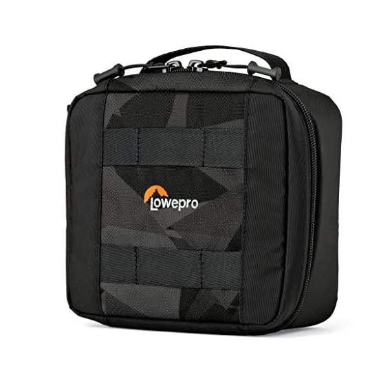 Lowepro LP36915 ViewPoint CS 40 - A Soft-Sided Protective Case for a Smartphone, GoPro or 360 Camera and Accessories… 3 Smart interior organization includes adjustable dividers, three with a built-in pockets to stash a backdoor, filter or remote (and keep it from scratching camera); plus a roomy zippered pocket for cables, backdoors, mounts, tools, manuals, etc.; top panel with built-in memory pockets; plus a padded panel with stretching webbing straps to organize and secure cables and mounts Super-portable design makes it easy to carry in a larger bag or carry by the grab handle. Exterior webbing straps provide extra carry and attach options.