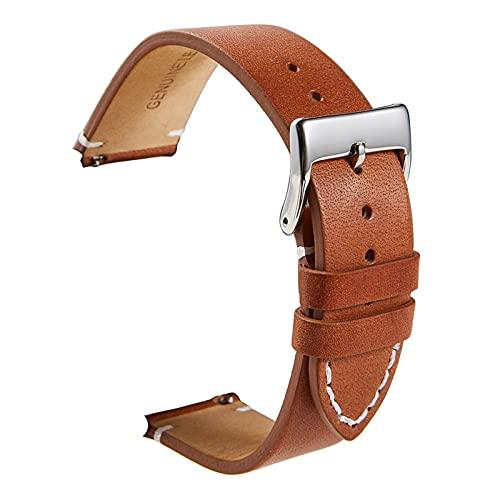 LXFFCOK liberación rápida de Cuero de Piel de Becerro Cuero Suave Mate Reloj de Cuero 16 18 20 22 24mm Correas para Relojes Inteligentes (Band Color : Light Brown, Band Width : 22mm)