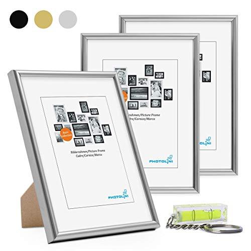 PHOTOLINI Bilderrahmen 3er Set 15x20 cm Modern Silber Kunststoff-Rahmen Schmal mit Glasscheibe und Zubehör