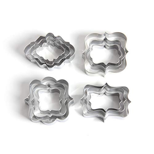 yalansmaiP 12 Pieces Plaque Cookie Cutters Set, Photo Plaques Frame Fondant Cutter Molds for Biscuit, Soft Fruit, Bread, Fondant, Sandwiches - Stainless Steel - Square, Rectangle,Oval