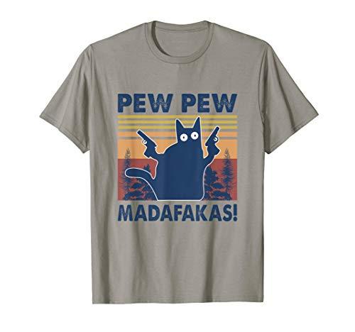 Pew Pew Madafakas Cat Crazy Vintage Retro Graphic T-Shirt