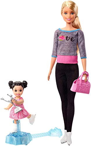 Barbie Ice-Skating Dolls & Playset with Blonde Coach Barbie Doll, Brunette Small Doll and Ice-Skating Base with Turning Mechanism, Gift for 3 to 7 Year Olds