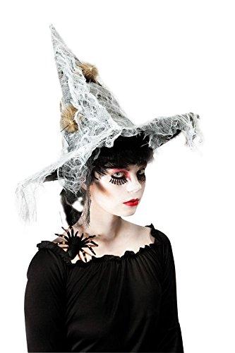 P'tit Clown - 39050 - Chapeau Sorcière Adulte - Tissu Noir avec Voile Gris Et Faux Rats - Taille Unique