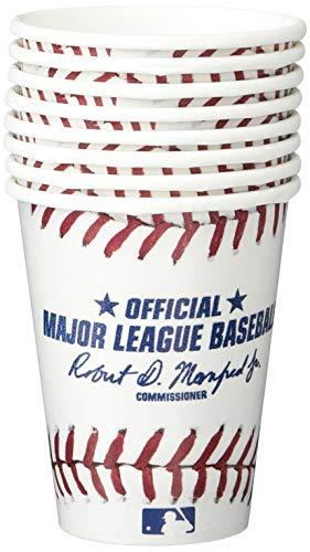 Amscan Baseball Dream Rawlings - Vasos de papel (8 unidades), color blanco y rojo, 5,4 x 3,1