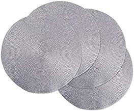 DII CAMZ37626 Round Woven PP PLACEMAT Set/4, Platinum Silver, 4 Piece