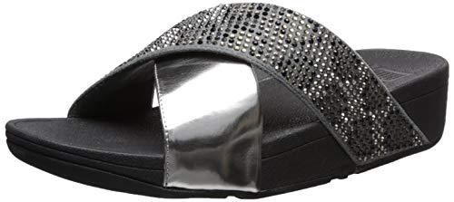 Price comparison product image FitFlop Women's LULU Leopard-Crystal Sandal,  Steel Grey,  6 M US