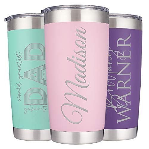 Personalized Double-Wall Vacuum Insulated Travel Tumblers | Select Your Font | Stainless Steel 20 oz Coffee Cup w/Lid, Optional 2 Straws and Brush |...