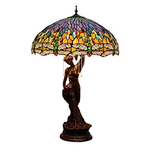 NIANZAI Hongfubang Lámpara de Mesa Decoración LED de Escritorio Luz for Dormitorio Sala de Estar Lámpara de Cristal Colorida Crafts Hecho a Mano Crafts Base Fairy Sostenerse Brillante y Pavo Real