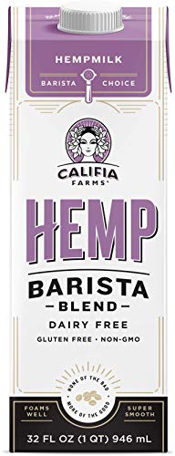Califia Farms – Hemp Milk, Barista Blend, 32 Oz (Pack of 6) | Dairy Free | Creamer | Vegan | Plant Based | Gluten-Free | Non-GMO | Shelf Stable