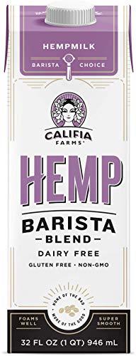 Califia Farms - Hemp Milk, Barista Blend, 32 Oz (Pack of 6) | Dairy Free | Creamer | Vegan | Plant Based | Gluten-Free | Non-GMO | Shelf Stable