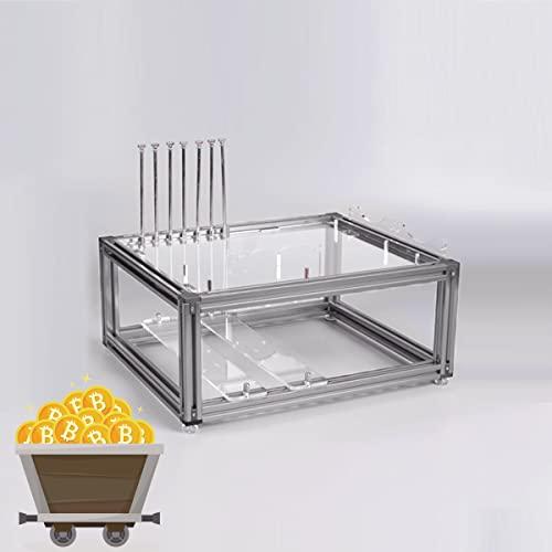 YCRD DIY Computergehäuse 20x20 Aluminiumlegierung ATX Computer PC Gehäuse DIY Open Frame Wassergekühlter PC mit Blick auf Testplattform/Bank (Silber)