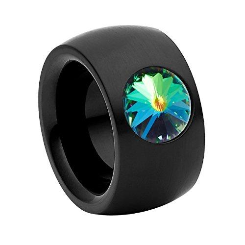 Heideman anillos mujer de acero inoxidable color negra anillo mujer con piedra de color verde