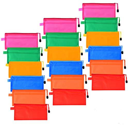 18 pièces Trousse plastique transparente Lot sac de rangment A6 Trousse scolaire Pencil Box trousse de toilette stylo Pochettes à Dossiers en PVC Porte monnaie Fourniture scolaire