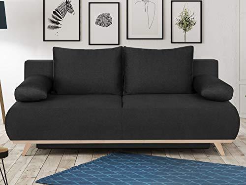 HOMIFAB Canapé Convertible 3 Places avec Coffre de Rangement en Tissu Gris Anthracite - Collection Laria