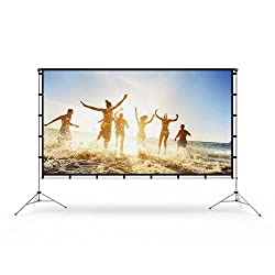 powerful Vamvo Outdoor Indoor Projection Screen with Stand 100 ″ (16: 9) Foldable Portable Cinema Screen…