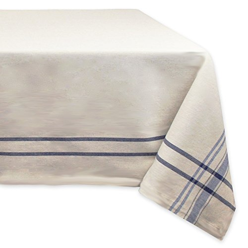DII 100% Cotton Everyday French Stripe Tabletop Collection, Tablecloth, 60x84, Taupe/Blue