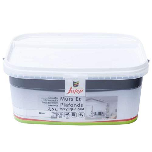 Jafep 12981 - Pittura da parete e soffitto, in acrilico opaco, 2,5 l, colore: Bianco