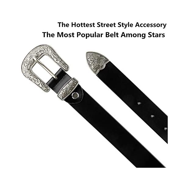 Ladies Vintage Western Design Black Waist Belt 3