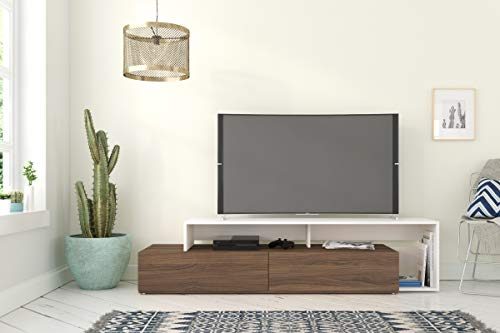 Nexera Tonik, Walnut & White 72-inch TV Stand, Walnut Melamine and White Melamine,