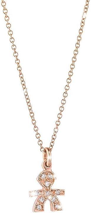 Ciondolo maschietto le briciole oro rosa con pavè diamanti le bebè LBB323