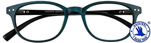 I NEED YOU leesbril +2,5Insider leeshulp blauw voor hem en haar houtontwerp flexbeugel etui