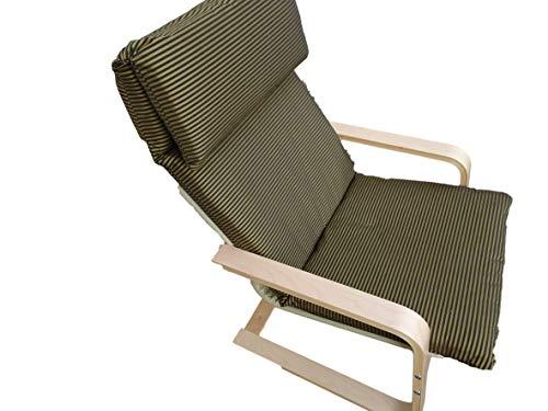 Kissen für Schaukelstuhl Typ Pello oder Poang IKEA. Hergestellt aus hochwertigem Polsterstoff. Sitz 57 x 50 Rücken 57 x 70, 8 cm dick (Olivenstreifen)