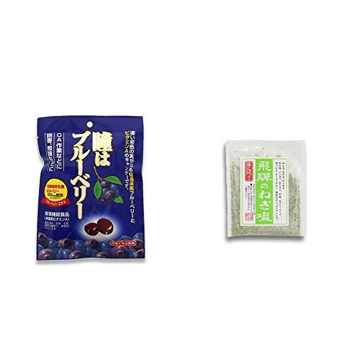 [2点セット] 瞳はブルーベリー 健康機能食品[ビタミンA](100g)・手造り 飛騨のねぎ塩(40g)