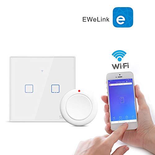 Alexa//Google Home-Smart Life APP aixi-SHS Wi-Fi 433Mhz panneau tactile interrupteur mural bouton intelligent une touche commandes tout 2 gang