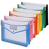 Ipowファイル袋 ボタン式ファイル袋 クリアファイル ファイルケース プロジェクトファイル A4 大容量 プラスチック透明 オシャレ 可愛い6色6個セット