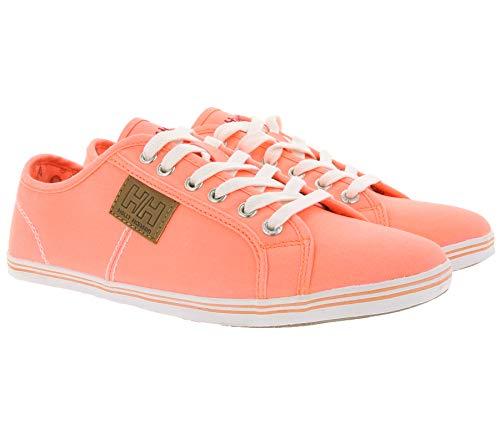 Helly Hansen Turn-Schuhe neonfarbige Damen Sneaker Low Top Flora Uni Freizeit-Schuhe Sommer-Schuhe Orange, Größe:37