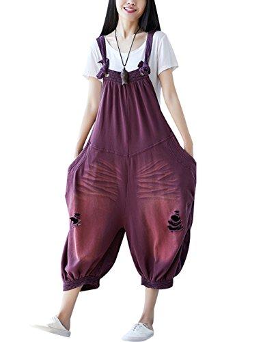 Youlee Damen Sommer Breites Bein Hose Denim Latzhose Overall Hosen Style 20 Purple