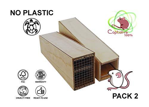 Ratonera Captalive 100% - Trampa Hecha a Mano de Madera Marina para Ratones Vivos, Tamaño S (Pack 2) Listo para Usar, Garantía 2 años. Venta Directa Del Productor